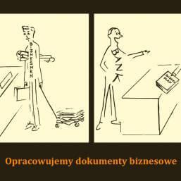 dwie grafiki zpodpisem Opracowujemy dokumenty biznesowe