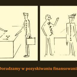 dwie grafiki zpodpisem Doradzamy wpozyskaniu finansowania